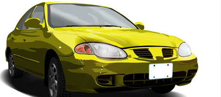 Free Car Vector of an old Yellow 99 Elantra