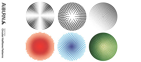 Circular Halftone Illustrator Vector Patterns