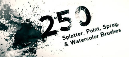 250 Hi Res Splatter, Spray, & Watercolour Brushes