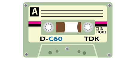 Create an old school TDK cassette illustration