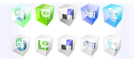 Social Bookmarking 3d icons in vector format
