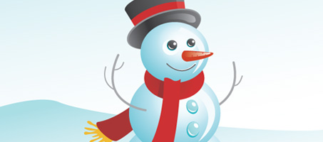 Draw a funny cute snowman in Illustrator