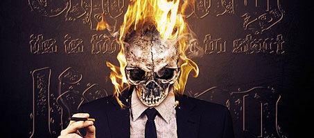 Make a Vivid Flaming Skull Conceptual Composition