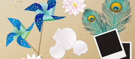 "New free vector set: ""memories from beach holiday"""