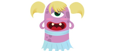 Create a cute monster character illustration in Illustrator