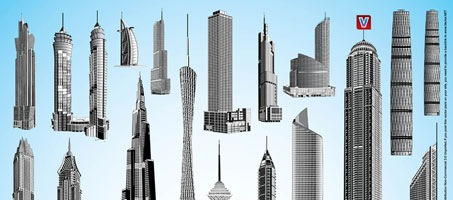 Skyscraper Building Design Vector Illustration Pack