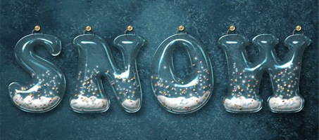 Glossy Snow Globe Photoshop Text Effect