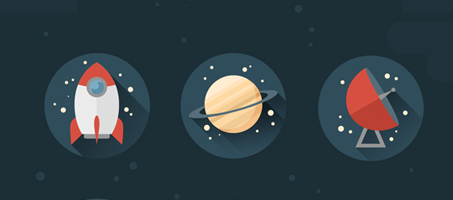 How to Create Stylish Flat Space Icons in Adobe Photoshop
