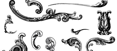 Free Illustrator Vectors: Engraved Vintage Ornaments