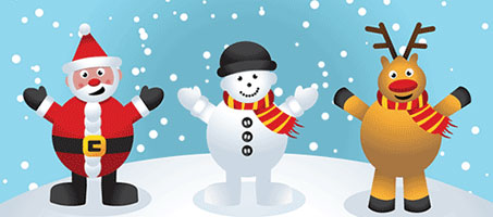 Free Christmas Vectors – Santa, Snowman and Reindeer