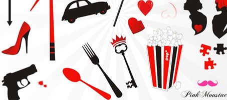Free vector set with of several black, red & white objects