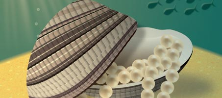 Create an Illustration of a Pearl-Filled Clam on an Ocean Bed