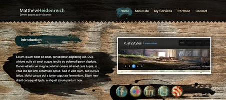 Create a Wooden Grunge Portfolio Web Layout in Photoshop