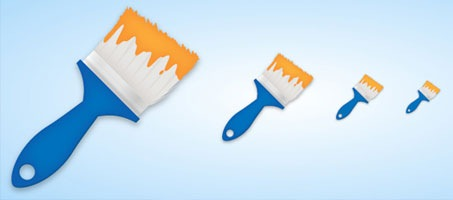 Create a simple paint brush icon using illustrator