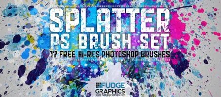 Free Hi-Res Splatter Paint Photoshop Brush Set