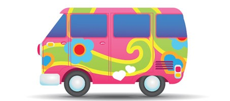 How to Illustrate a Colourful Hippie Peace Van
