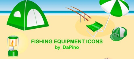 Fishing Equipment Beach Illustration Design Icons