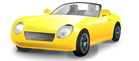 A Very Cute Yellow Convertible Sports Car Vector